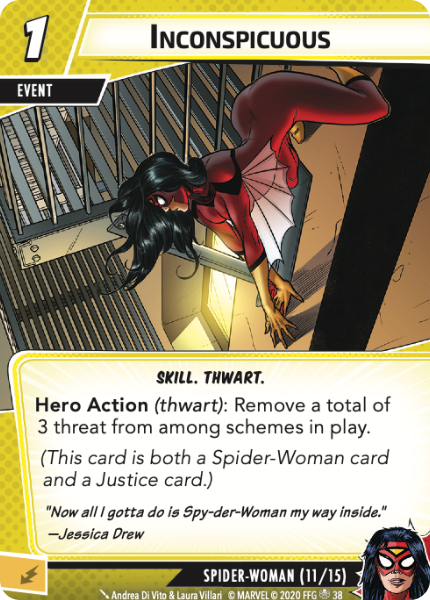 Inconspicuous, a new card for Spider-Woman from Rise of Red Skull