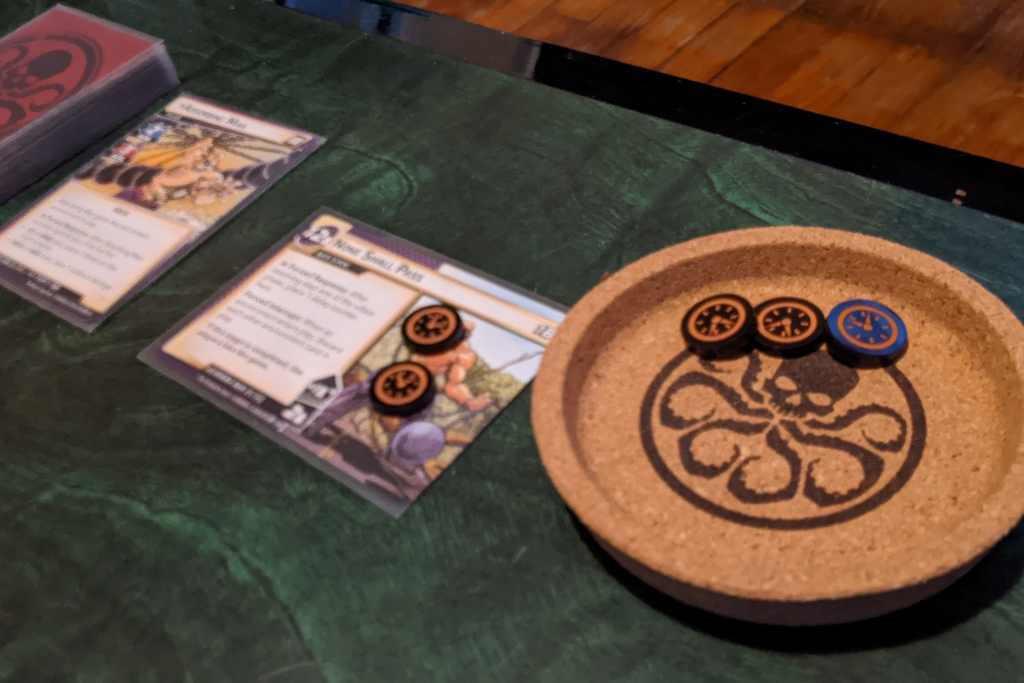 Token trays on the tabletop