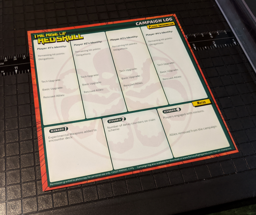 Printed and trimmed campaign log