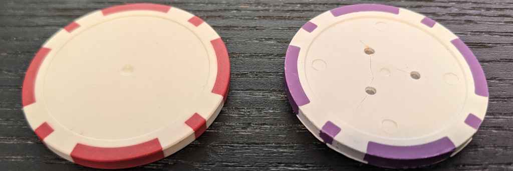 Blank poker chip comparison